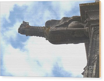 Wood Print featuring the photograph Chartres Gargoyle by Deborah Smolinske