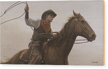 Wood Print featuring the painting Chasin Em Down by Ron Crabb