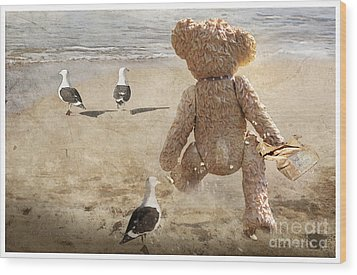 Chasing After Seagulls Wood Print by Adelita Rog