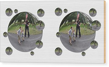 Chasing Bubbles - Cross Your Eyes And Focus On The Middle Image That Appears Wood Print by Brian Wallace