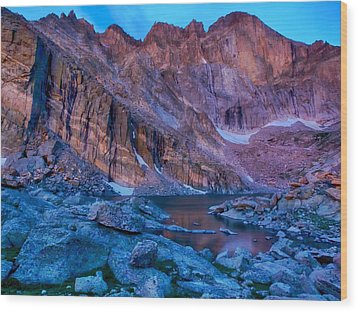 Chasm Lake Gold Wood Print by Rob Wilson