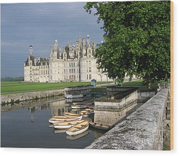 Chateau Chambord Boating Wood Print by HEVi FineArt