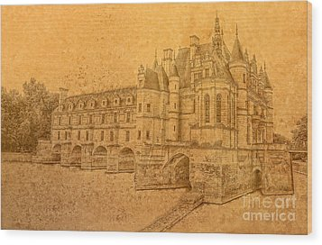 Wood Print featuring the photograph Chateau De Chenonceau by Nigel Fletcher-Jones