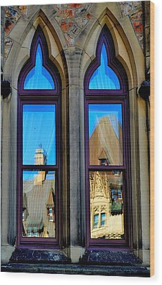 Chateau Laurier - Parlaiment Window - Reflection # 1 Wood Print