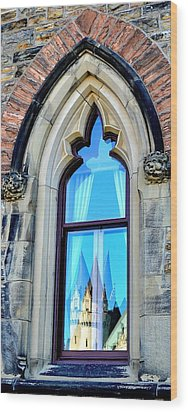 Chateau Laurier - Parlaiment Window - Reflection # 3 Wood Print