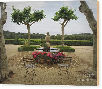 Chateau Malherbe Fountain Wood Print by Lainie Wrightson