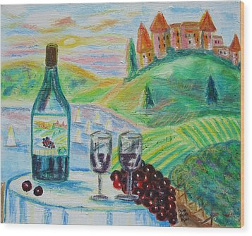 Chateau Wine Wood Print by Diane Pape