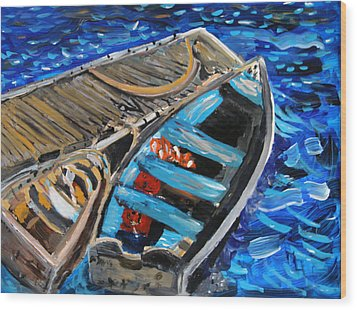 Wood Print featuring the painting Chatham Blue by Michael Helfen