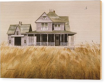 Wood Print featuring the painting Chatham Derelict by Karol Wyckoff
