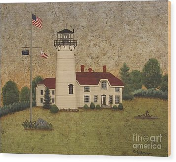 Chatham Light Wood Print by Becky Humbarger