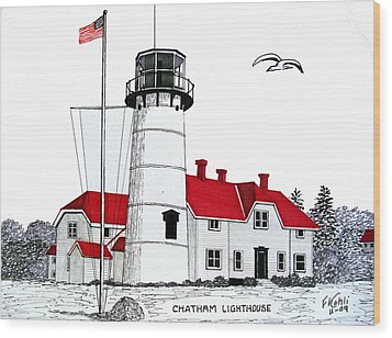 Chatham Lighthouse Drawing Wood Print by Frederic Kohli