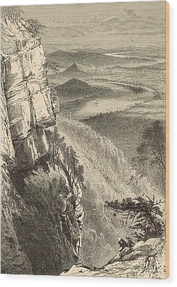 Chattanooga And The Tennessee From Lookout Mountain Wood Print by Antique Engravings