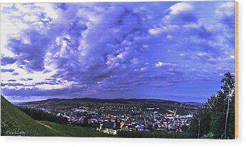 Checiny Town Blue Hour Panorama Wood Print by Julis Simo