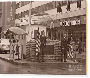 Check Point Charlie Wood Print