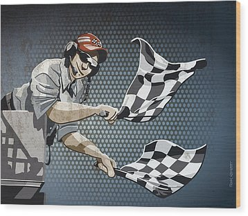 Checkered Flag Grunge Color Wood Print by Frank Ramspott