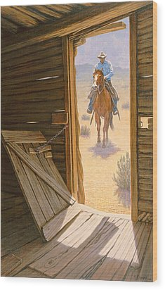 Checking The Line Cabin Wood Print by Paul Krapf
