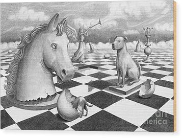 Checkmate Wood Print by Denise M Cassano