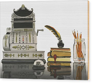 Wood Print featuring the painting Checkout Time by Ferrel Cordle