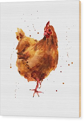 Cheeky Chicken Wood Print by Alison Fennell