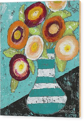 Cheerful Blooms Wood Print by Kirsten Reed