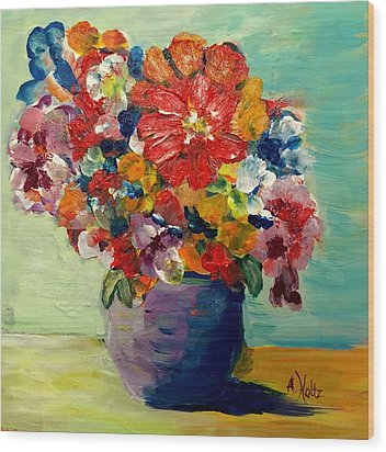 Cheerful Flowers In Pot Wood Print by Arlene Holtz