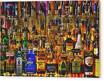 Cheers - Alcohol Galore Wood Print by David Patterson