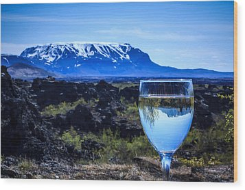 Cheers To Iceland Wood Print by Peta Thames