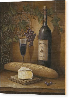 Cheese And Wine Wood Print by John Zaccheo