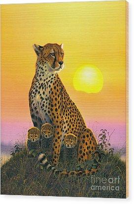 Cheetah And Cubs Wood Print