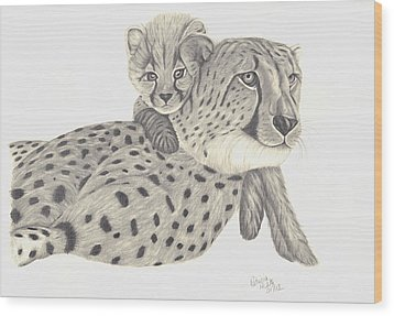 Cheetah And Her Cub 1 Wood Print by Patricia Hiltz
