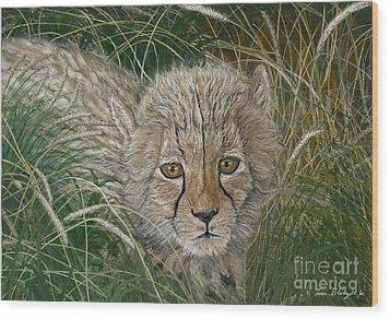 Cheetah Cub Wood Print