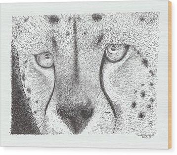 Cheetah Face Wood Print by Todd Hodgins