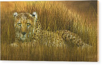 Cheetah - In The Wild Grass Wood Print by Carol Cavalaris