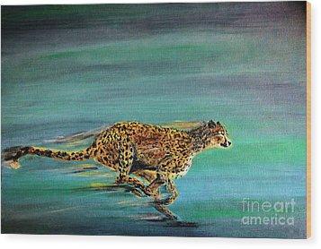 Cheetah Run Wood Print
