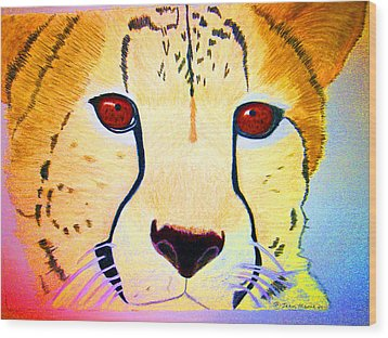 Cheetah With Color Wood Print by Jean Marie Economen
