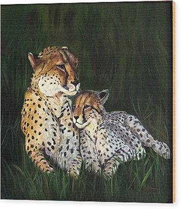 Wood Print featuring the painting Cheetahs by LaVonne Hand