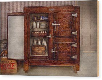 Chef - Fridge - The Ice Chest  Wood Print by Mike Savad