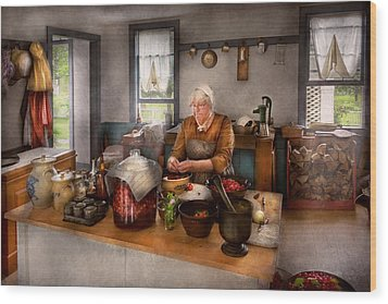 Chef - Kitchen - Cleaning Cherries  Wood Print by Mike Savad
