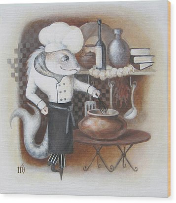 Wood Print featuring the painting Chef by Marina Gnetetsky