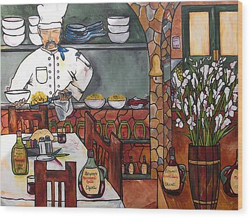 Chef On Line Wood Print by Patti Schermerhorn