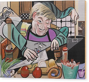 Chef With Heart Wood Print by Anthony Falbo