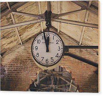 Chelsea Market Clock Wood Print by Kim Fearheiley