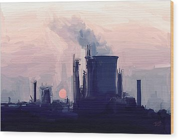 Chemical Sunset Wood Print by Nop Briex