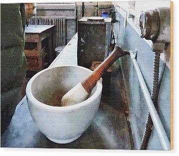 Chemist - Mortar And Pestle In Lab Wood Print by Susan Savad
