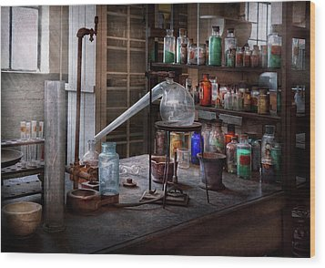 Chemist - My Retort Is Better Than Yours  Wood Print by Mike Savad