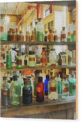 Chemistry - Bottles Of Chemicals Green And Brown Wood Print by Susan Savad