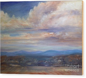 Wood Print featuring the painting Chenango River Valley by Sally Simon