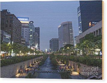 Cheonggyecheon Stream In Seoul South Korea Wood Print