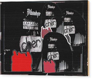 Cher Caesar's Palace Collage Las Vegas Nevada 1977-2012 Wood Print by David Lee Guss
