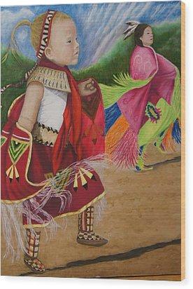Cherokee Ribbon Dancers Wood Print